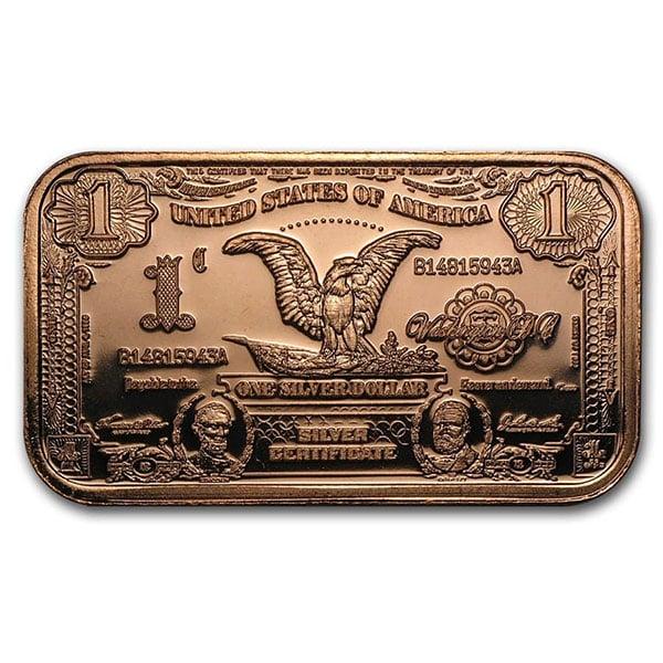 Copper BAR - $1 Banknote, 1 AVDP Oz, .999 Pure Copper