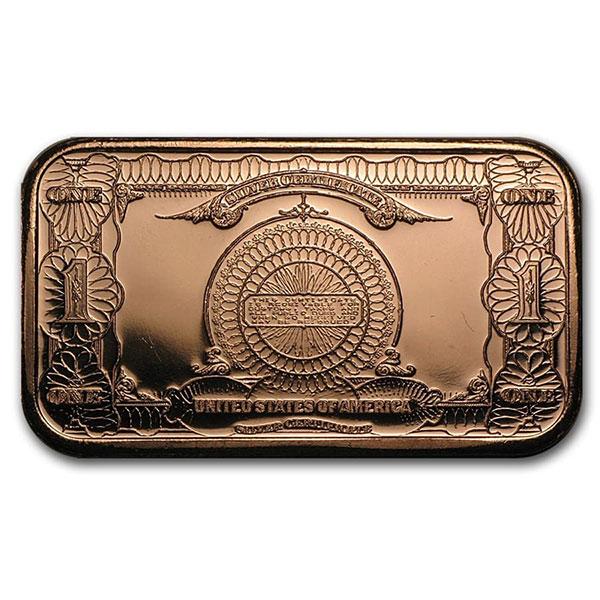 Copper BAR - $1 Banknote, 1 AVDP Oz, .999 Pure Copper thumbnail