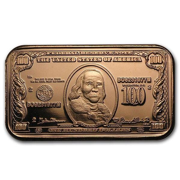 Copper BAR - $100 Banknote, 1 AVDP Oz, .999 Pure Copper