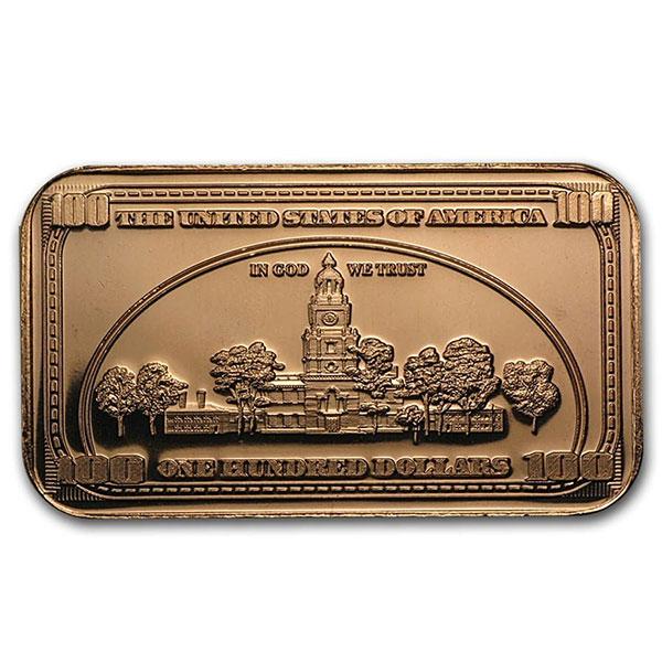 Copper BAR - $100 Banknote, 1 AVDP Oz, .999 Pure Copper thumbnail