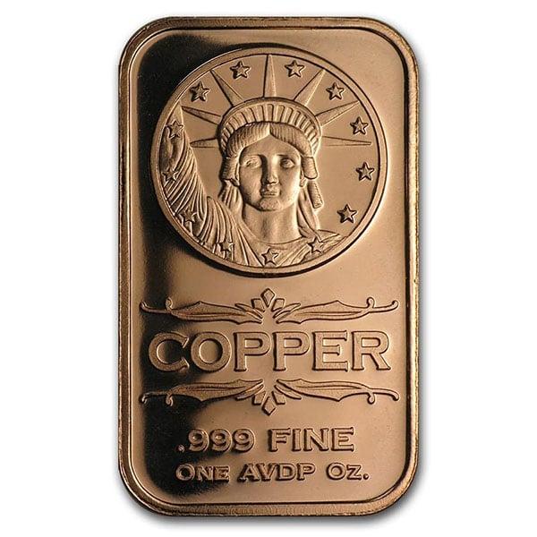 Copper BAR - Liberty Head, 1 AVDP Oz, .999 Pure Copper