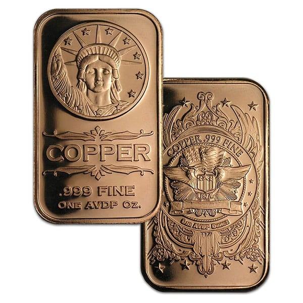 Copper BAR - Liberty Head, 1 AVDP Oz, .999 Pure Copper thumbnail