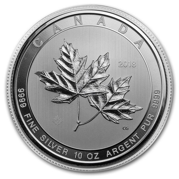Canadian Maple Leaf, 10 Troy Ozs. Silver, .9999 Pure thumbnail