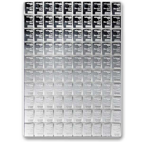 Silver Valcambi CombiBar - 100 Gram .999 Pure