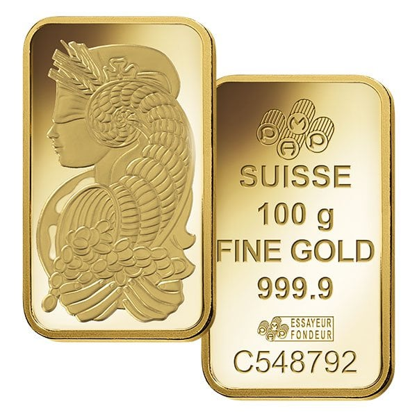 PAMP Suisse 100 Gram Gold Bar thumbnail