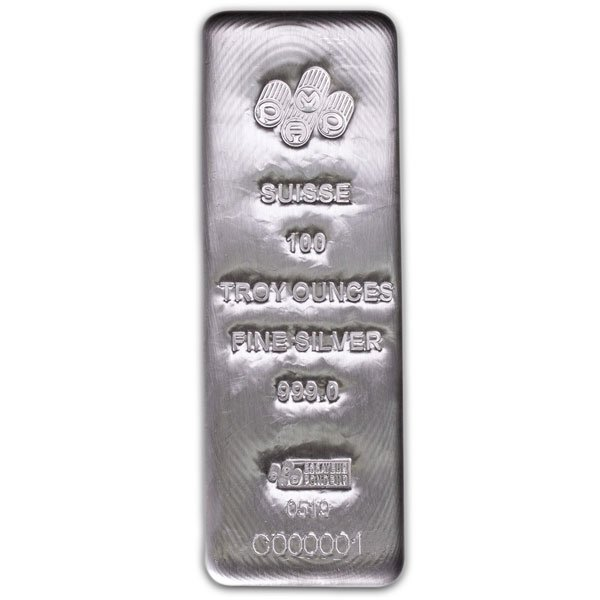 PAMP Suisse 100 Ounce Bar, .999 Pure Silver