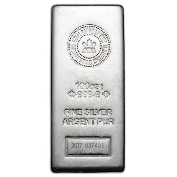 100 oz Royal Canadian Mint Silver Bar -  .9999 Silver (New Style)