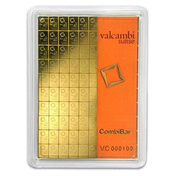 Valcambi CombiBar - 100 x 1 Gram .9999 Gold (3.215 troy Oz)