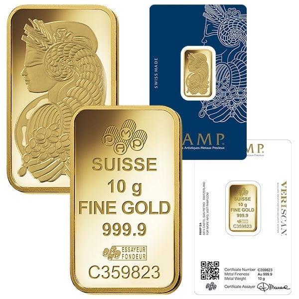 10 Gram Pamp Suisse Gold Bars thumbnail