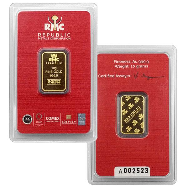 10 Gram Gold Bars, .9999 Pure thumbnail