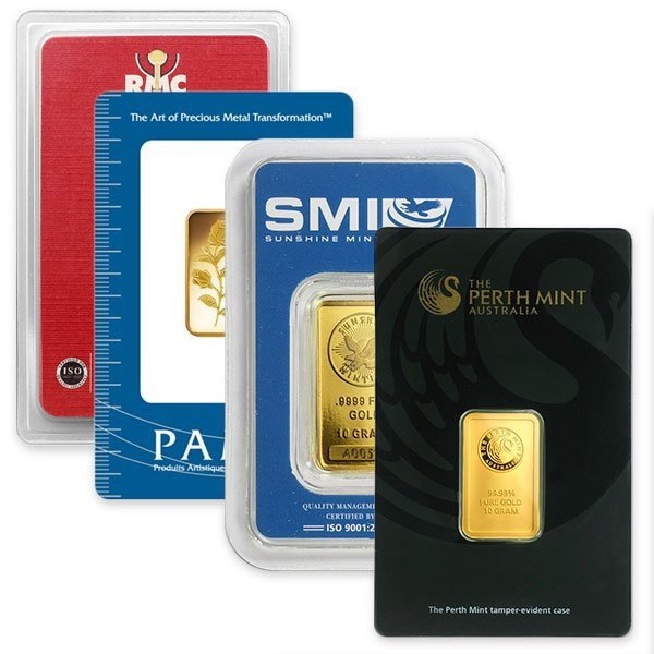 10 Gram Gold Bars, .9999 Pure