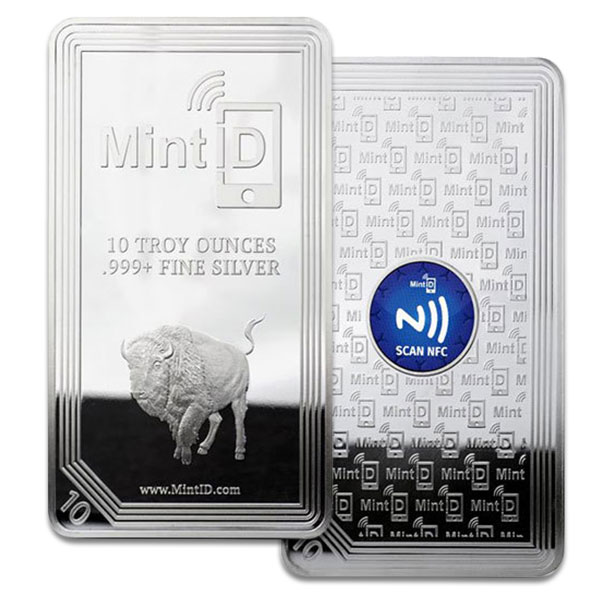 Mint ID Buffalo Design Silver Bar - 10 Ounce .999 Pure