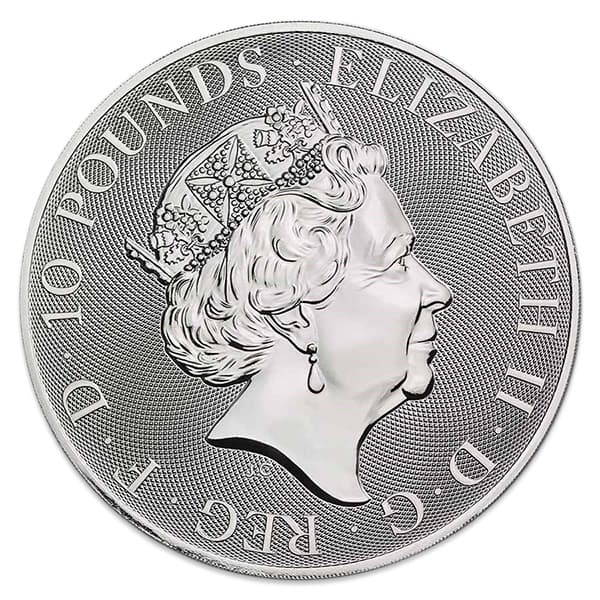 British Royal Mint Queen's Beast; White Greyhound - 10 Oz Silver Coin .9999 Pure thumbnail