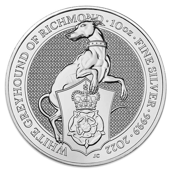 British Royal Mint Queen's Beast; White Greyhound - 10 Oz Silver Coin .9999 Pure
