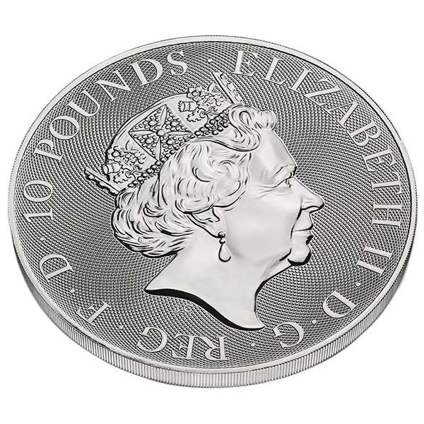 British Royal Mint Queen's Beast; White Lion - 10 Oz Silver Coin .9999 Pure thumbnail