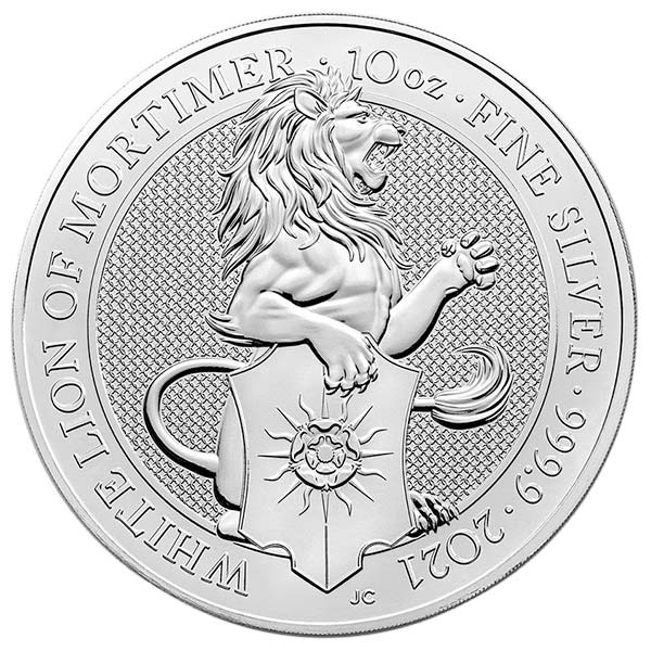 British Royal Mint Queen's Beast; White Lion - 10 Oz Silver Coin .9999 Pure