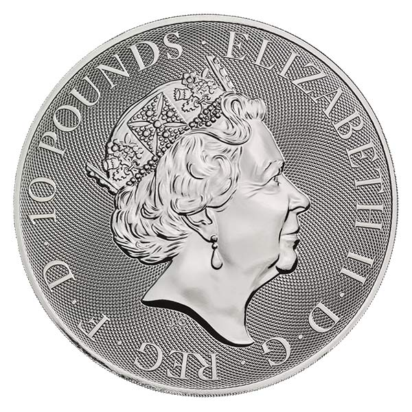 British Royal Mint Queen's Beast; Black Bull - 10 Oz Silver Coin .9999 Pure thumbnail