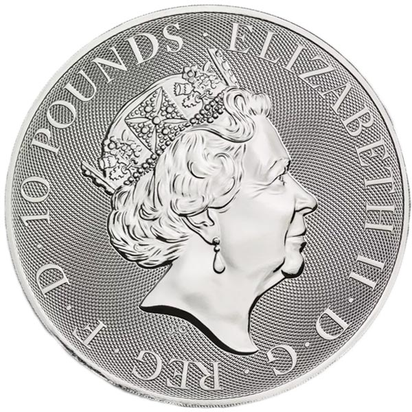 British Royal Mint Queen's Beast; Falcon - 10 Oz Silver Coin .9999 Pure thumbnail