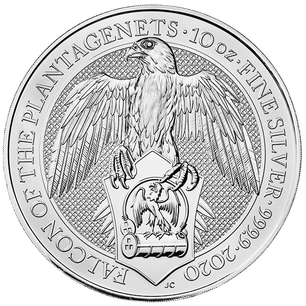 British Royal Mint Queen's Beast; Falcon - 10 Oz Silver Coin .9999 Pure