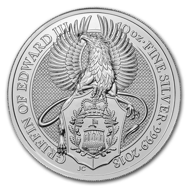 British Royal Mint Queen's Beast; Griffin - 10 Oz Silver Coin .9999 Pure