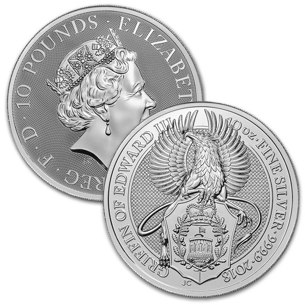 British Royal Mint Queen's Beast; Griffin - 10 Oz Silver Coin .9999 Pure thumbnail