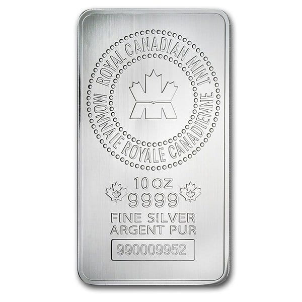 Royal Canadian Mint Silver Bar - 10 oz .9999 Silver