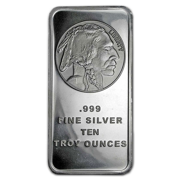 Buffalo Design Silver Bar - 10 Ounce .999 Pure