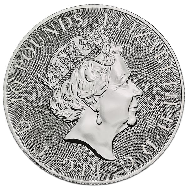 British Royal Mint Queen's Beast; Yale - 10 Oz Silver Coin .9999 Pure thumbnail