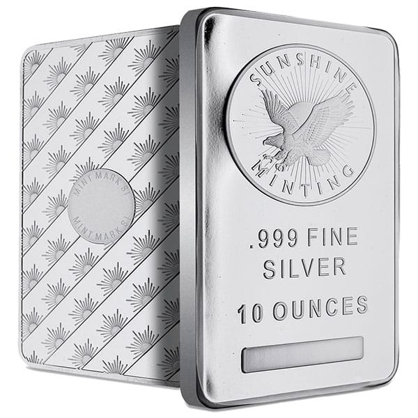 10 Oz Silver Bar Buy 999 Pure Bullion Bars Money Metals 174