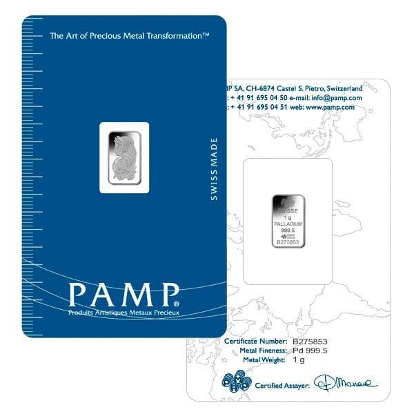 PAMP Suisse 1 Gram Palladium Bars
