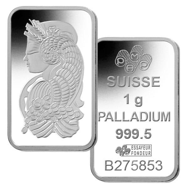 PAMP Suisse 1 Gram Palladium Bars thumbnail