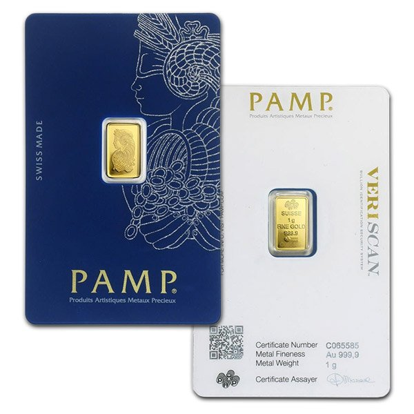 PAMP Suisse Gold Bar, 1 Gram, .9999 Pure (In Assay)