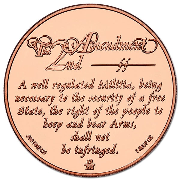 Copper 2nd Amendment (Minuteman) Round - 1 AVDP Oz, .999 Pure Copper thumbnail
