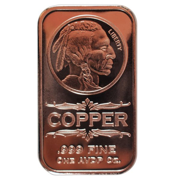 Copper Bar - Indian Head, 1 AVDP Oz, .999 Pure Copper thumbnail