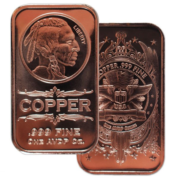 Copper Bar - Indian Head, 1 AVDP Oz, .999 Pure Copper