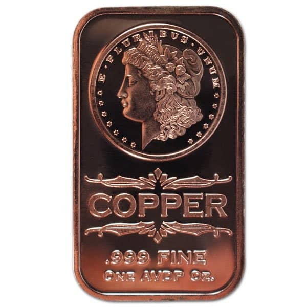 Copper Bar - Morgan Head, 1 AVDP Oz, .999 Pure Copper thumbnail