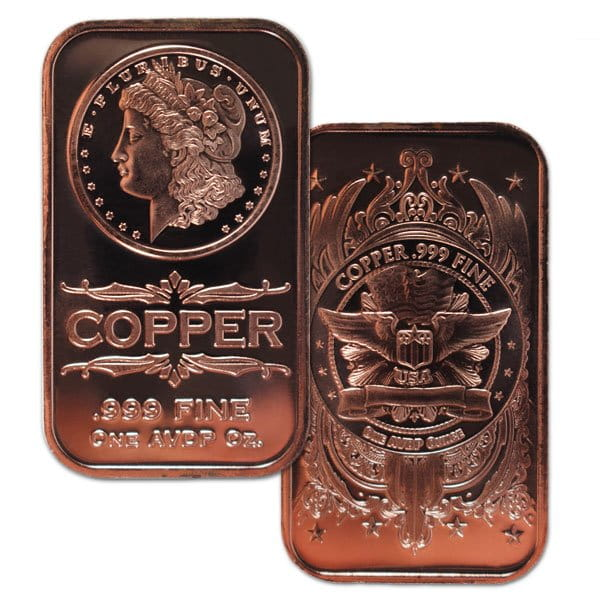 Copper Bar - Morgan Head, 1 AVDP Oz, .999 Pure Copper