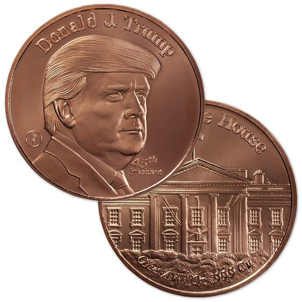 Copper President Trump Round - 1 AVDP Oz, .999 Pure Copper thumbnail