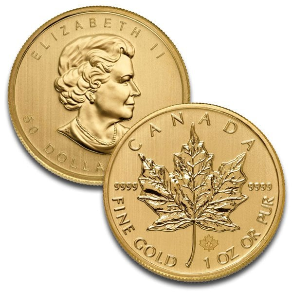 1 Oz Canadian Maple Leaf Gold Coins thumbnail