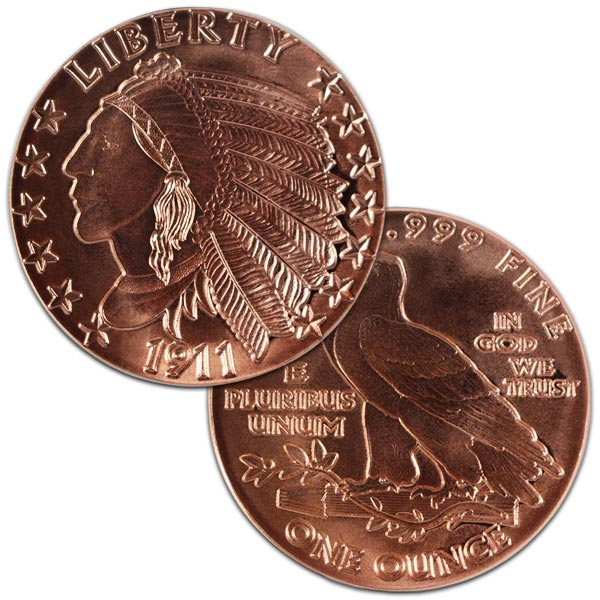 Copper Indian Head Round - 1 AVDP Oz, .999 Pure (Incuse)