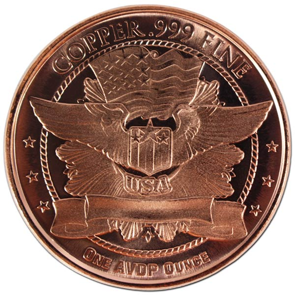 Copper St. Gaudens - 1 AVDP Oz Round, .999 Pure Copper thumbnail