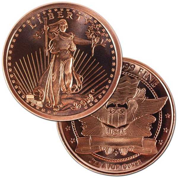 Copper St. Gaudens - 1 AVDP Oz Round, .999 Pure Copper