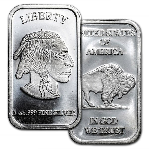 Buffalo Design Silver Bar - 1 Ounce .999 Pure thumbnail