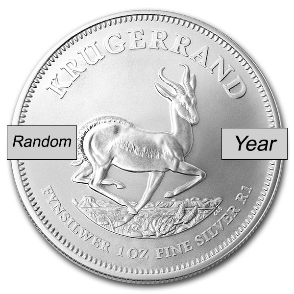 South African Krugerrand - 1 Troy Oz .999 Silver thumbnail