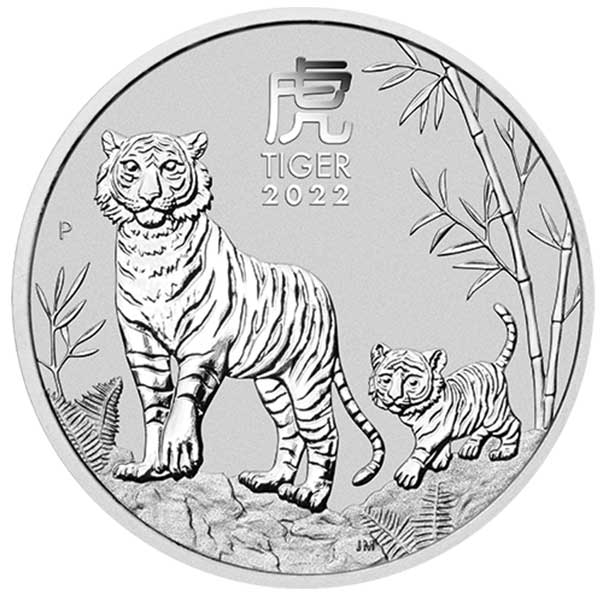Perth Mint Lunar Series - 2022 Year of the Tiger, 1 Oz .9999 Silver