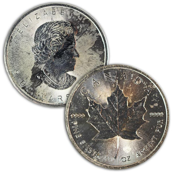 Spotted/Tarnished/Circulated Silver Maple Leaf, .9999 Pure, 1 Troy Ounce thumbnail