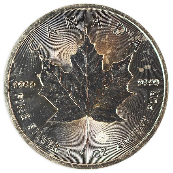 Spotted/Tarnished/Circulated Silver Maple Leaf, .9999 Pure, 1 Troy Ounce