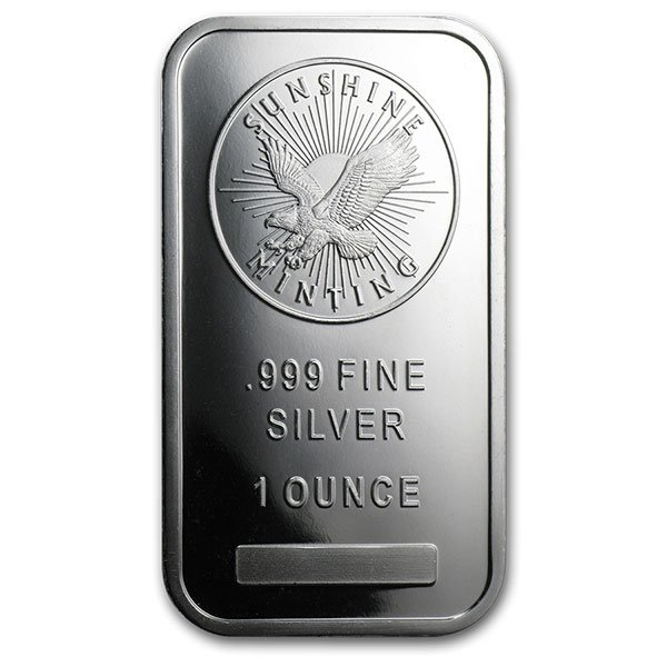 Sunshine Minting 1 Ounce Bar, .999 Pure Silver
