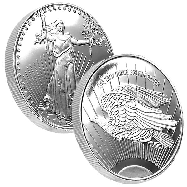 St. Gaudens Silver Round - 1 Troy Ounce, .999 Pure thumbnail