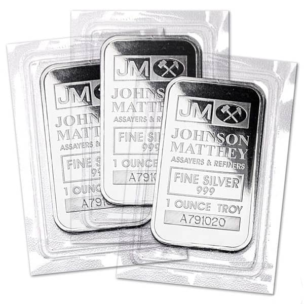 Johnson Matthey 1 Oz Silver Bars thumbnail